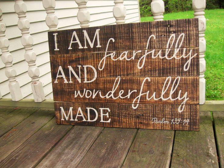 Nursery+art+childrens+decor+wood+sign+Fearfully+by+truelovecreates,+$65.00