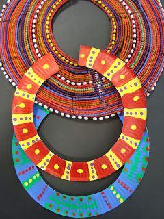 African Necklaces (Paper Plates)  They are made using the outer rim of a large paper plate and they are inspired by the beaded necklaces of the Samburu Tribe.