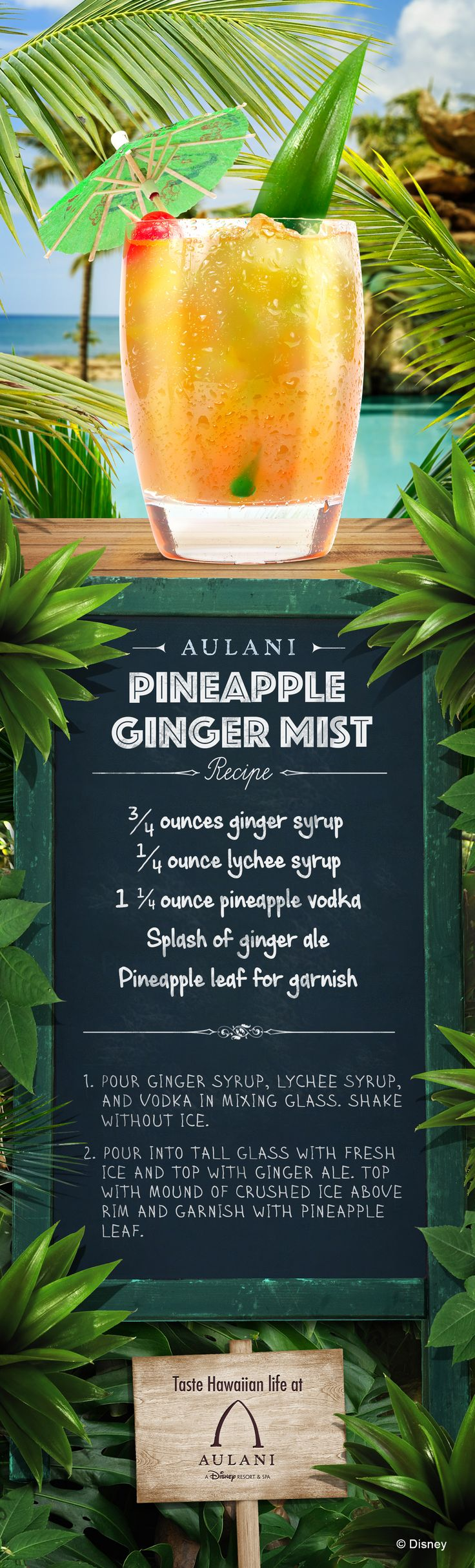 Enjoy a refreshing taste of Hawaii and bring the flavors of Aulani to your home with this Pineapple Ginger Mist drink recipe!