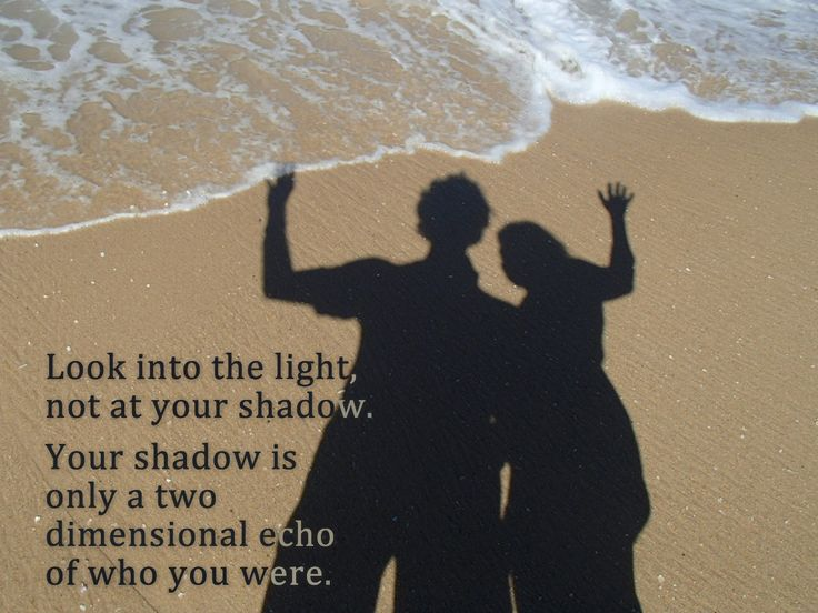 Look into the light, not at your shadow. Your shadow is only a two dimensional echo of who you were.