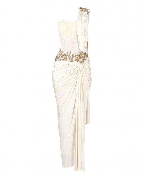 White stitched sari with attached drape pallu and tube blouse. Featuring an embellished waistband, sweetheart neckline and padded bustier. Wash care: Dry clean only