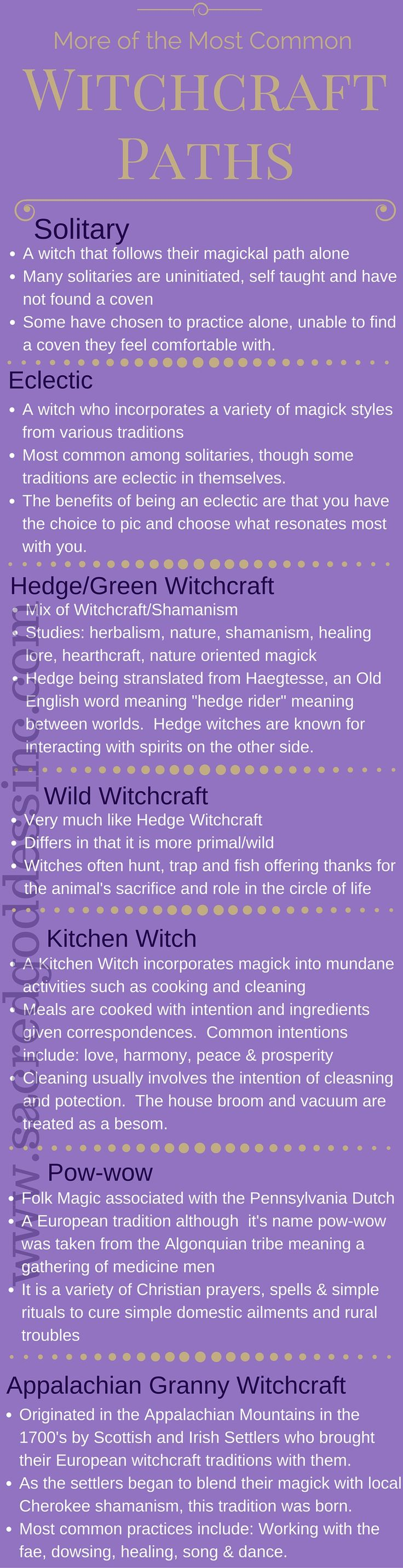 Beginner Wicca - More Witchcraft Traditions: Solitary, Eclectic, Hedge Witch, Wild Witch, Kitchen Witch, Pow-wow & Appalachian Grannie Magick - I guess eclectic since hedge, kitchen and granny resonate most with me