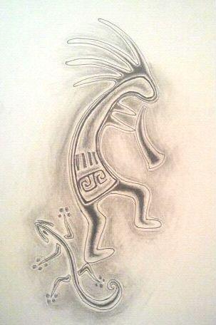 Kokopelli Tattoo Design WIP by Exxpressions13
