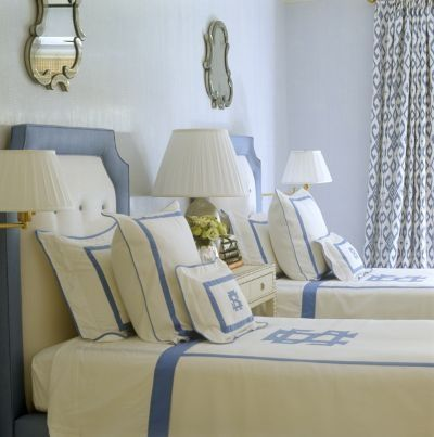 love the detailingGuestroom, Guest Bedrooms, White Beds, White Bedrooms, Twin Beds, Guest Rooms, Upholstered Headboards, Monograms, Blue And White