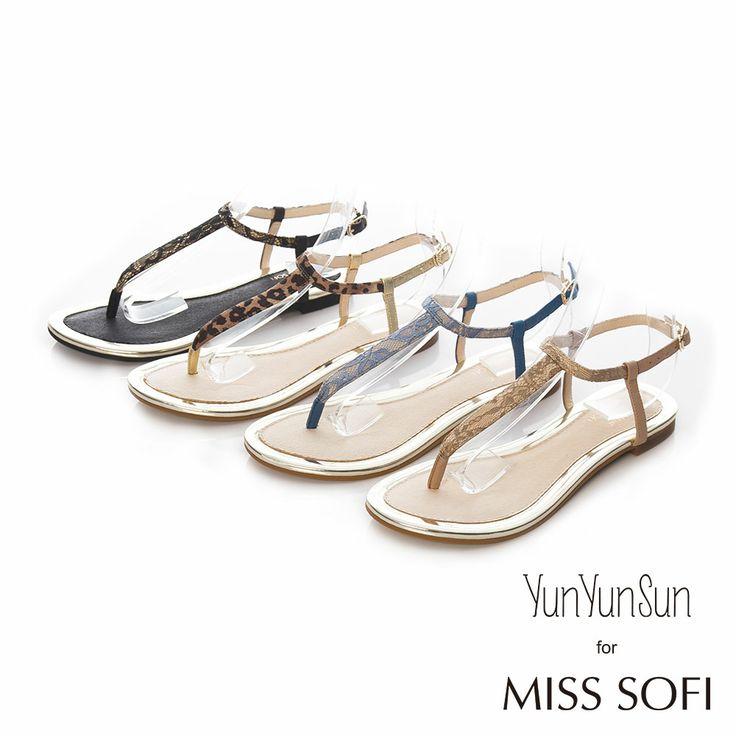 3280-MISS SOFI x 孫芸芸-Emma蕾絲T型夾腳涼鞋-藍 - Yahoo!奇摩購物中心