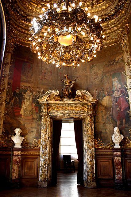 Interior of la Salle Favart, theatre de l'Opera Comique in Paris.