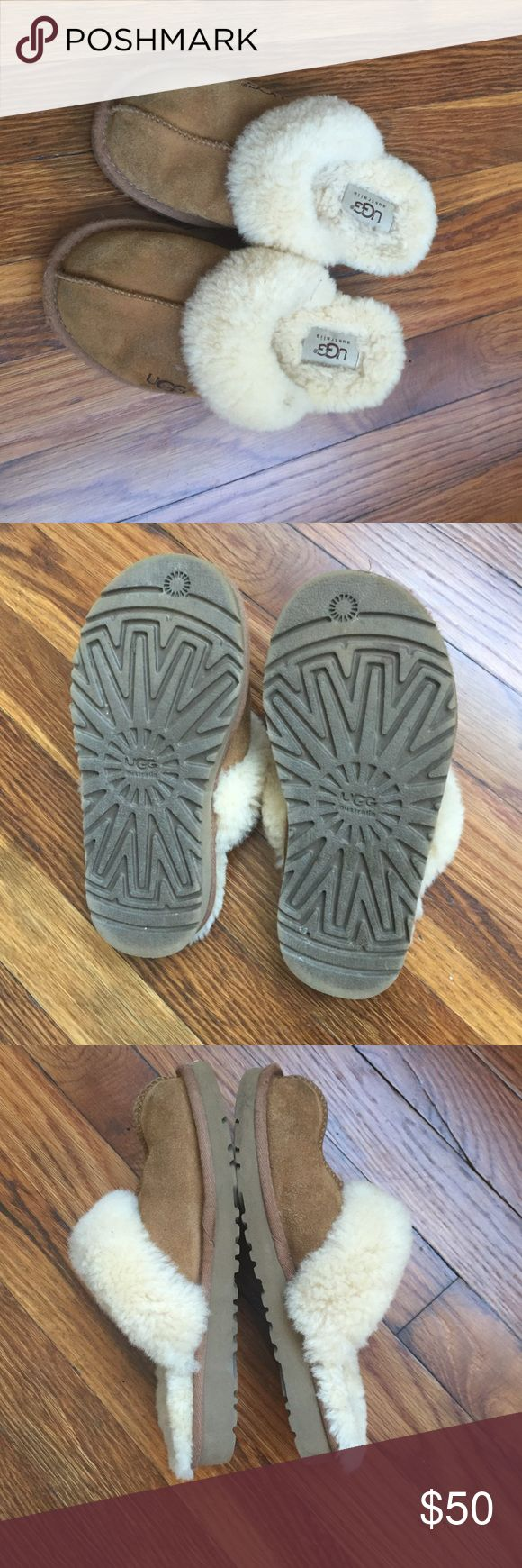 Kids UGG slippers Excellent very gently used condition UGGs slippers. Size 1. Authentic. Chestnut color. UGG Shoes Slippers