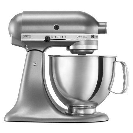 walmart kitchen aid mixer leather chairs kitchenaid artisan series 5 quart tilt head stand contour silver ksm150pscu com