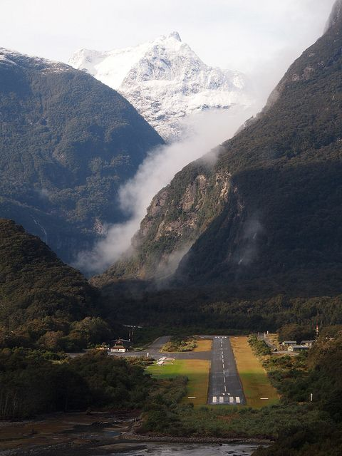 Milford Sound Airport, deep in the South Island - a magical spot. New Zealand