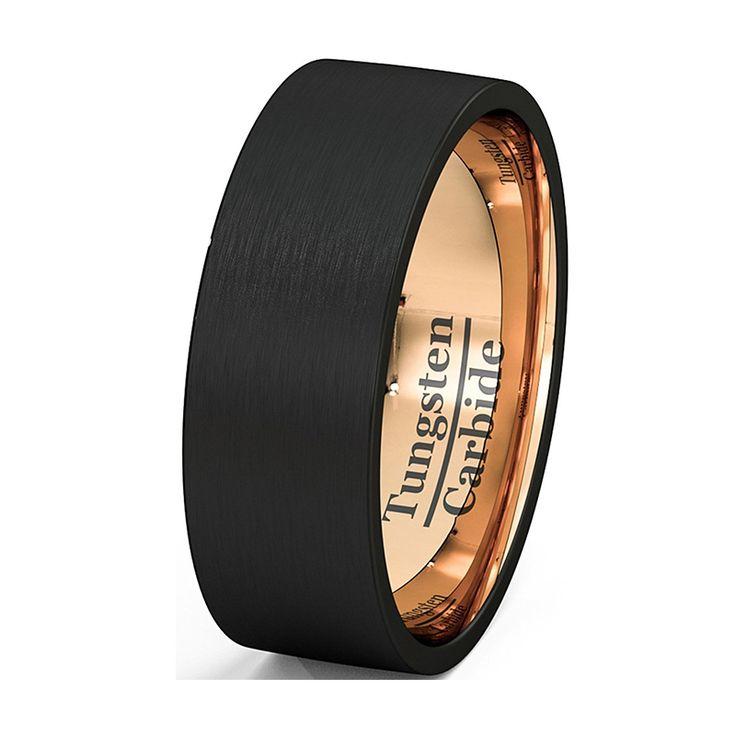 Mens Wedding Band Zweifarbigen Schwarz Wolfram Ring 8mm Rose Gold Innen Verfilzte Gebürstet Flach Geschnitten Comfort Fit TU076R