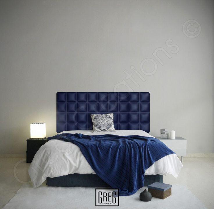 Diseño de un dormitorio con el cabecero azul marino de la serie CHOCOLATE.