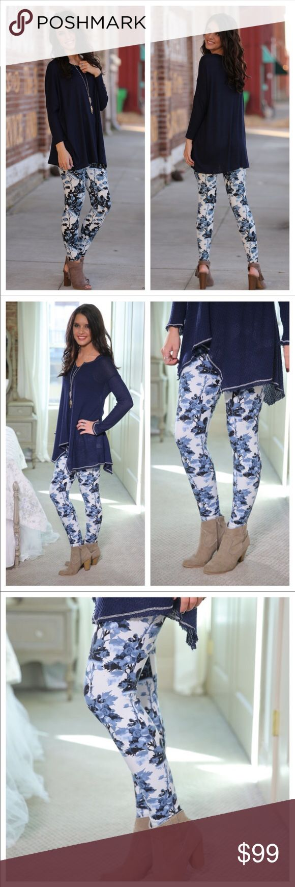 💙COMING SOON💙Blue and white leggings:💙 💙COMING SOON 💙Like this listing to be notified by price drop when they arrive.💙Blue and white leggings: 💙Spring Blue floral print leggings.  Super soft brushed knit 92% polyester and 8% spandex.  One size Infinity Raine Pants Leggings