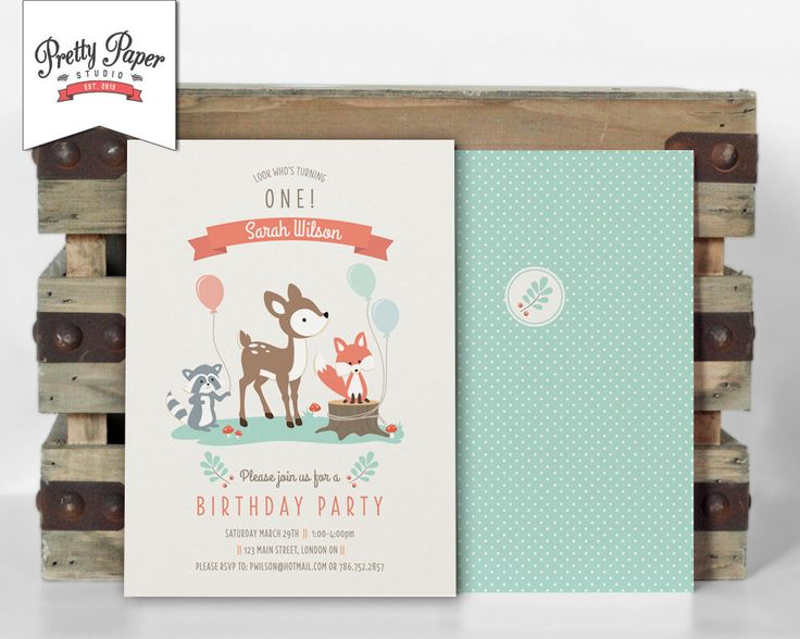 Woodland Birthday Party uitnodiging / / Woodland partij Invite / / Gender neutraal / / Mint & koraal / / herten Fox wasbeer / / afdrukbare digitale BP03 door ThePrettyPaperStudio op Etsy https://www.etsy.com/nl/listing/178397089/woodland-birthday-party-uitnodiging