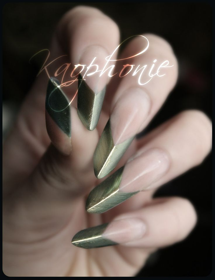 CHIC NAILS | metallic| pointed | twist on a french | modern | watch out!  -- CAN ALSO BE USED AS WEAPONS TOO!!  ;)