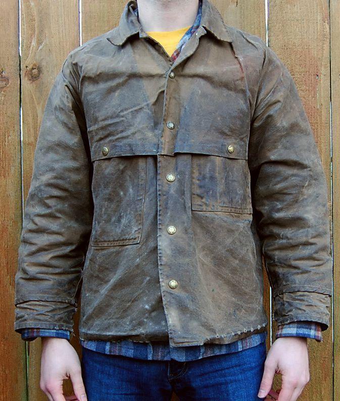 2170b7c3eb7bd Vtg Distressed Filson Tin Cloth Jacket Shotgun Bird Hunting Rustic  Northwest Fishing - Men's Small | Rags | Jackets, Clothes, Men dress