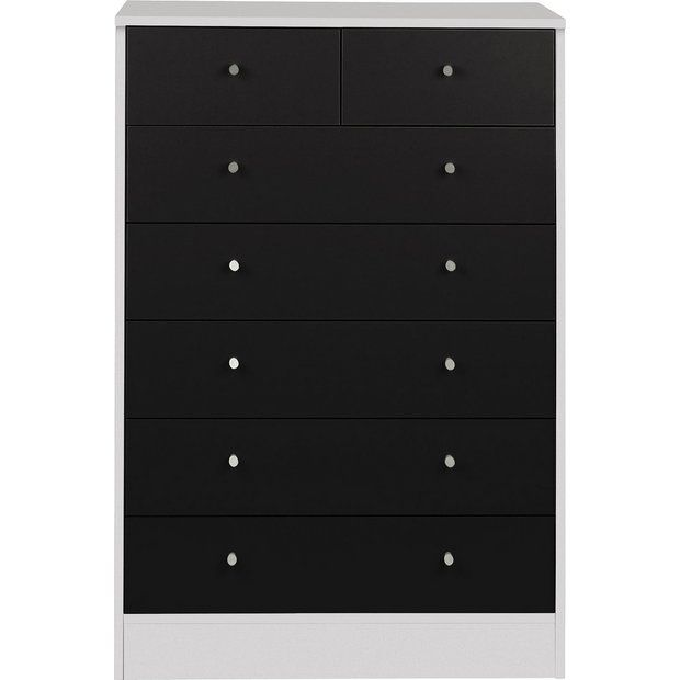 Buy HOME Kids New Malibu 5+2 Drawer Chest - Black on White at Argos.co.uk - Your Online Shop for Children's chests of drawers, Children's furniture, Home and garden.