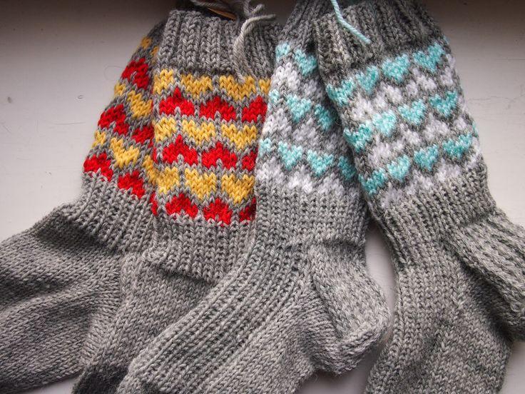 Heart socks, knitted woolen socks