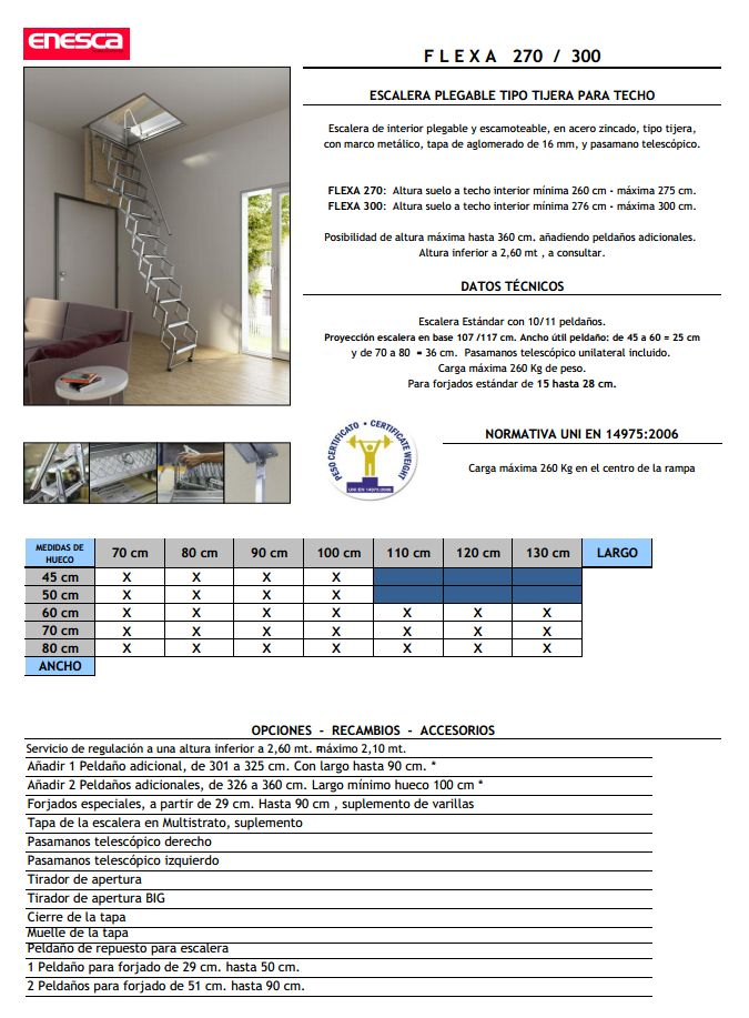 Escalera plegable y escamoteable para techo Modelo FLEXA 270 Escaleras Enesca.es