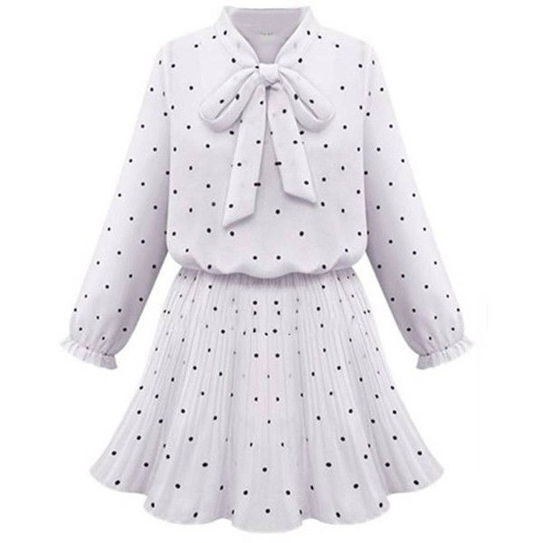 Ruffles Bow Polka Dot Stretch Waist Women A Line Dress ($17) ❤ liked on Polyvore featuring dresses, a line dress, polka dot dress, ruffle dress, knee-length dresses and ruffle sleeve dress
