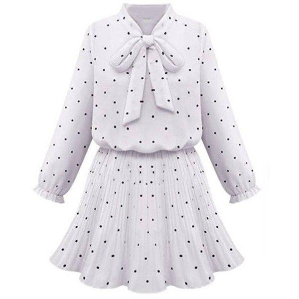 Ruffles Bow Polka Dot Stretch Waist Women A Line Dress ($17) ❤ liked on Polyvore featuring dresses, a line dress, polka dot dress, ruffle dress, knee-length dresses and ruffle sleeve dress
