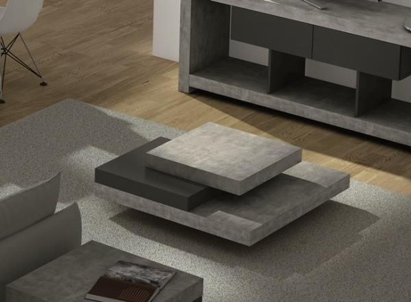 Temahome Slate, Square Coffee Table in Concrete/ Pure Black