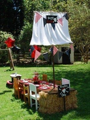 VBS pirate ship/ station: Pirates Ships, Kids Parties, Birthday Parties, Pirates Birthday, Pirates Parties, Parties Ideas, Hay Bale, Parties Tables, Gardens Parties