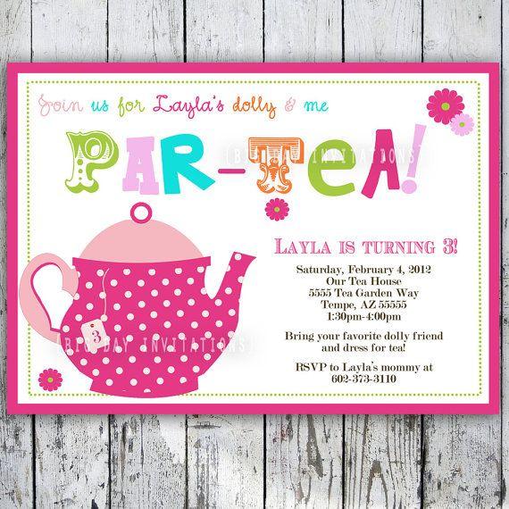 Tea Party Birthday Invitation Tea Party by BigDayInvitations, $11.49