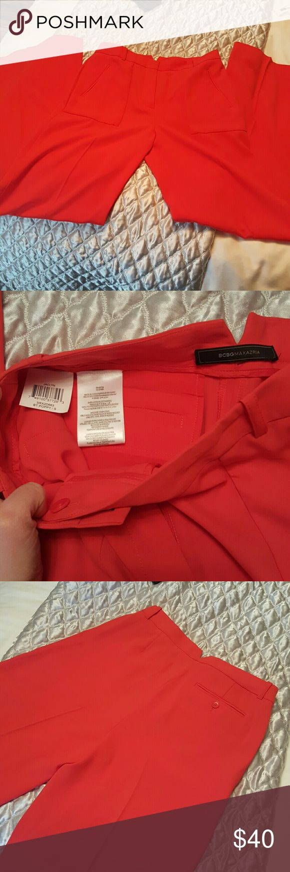 Bcbgmaxazria Jaclyn Wide Leg High Rise Pants Bcbgmaxazria. Style: jaclyn. Color: poppy. Size small. Wide leg high rise fit. So comfy. Lightweight material. Very flattering. Smokefree Environment. BCBGMaxAzria Pants Wide Leg