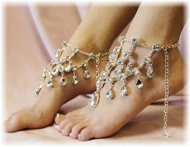 SJ5  CRYSTAL barefoot sandals - Jewels  Crystal Clear Drops Fit for a Princess! A Catherine Cole Exclusive! rhinestone barefoot sandals  outdoor wedding accessories  beach wedding