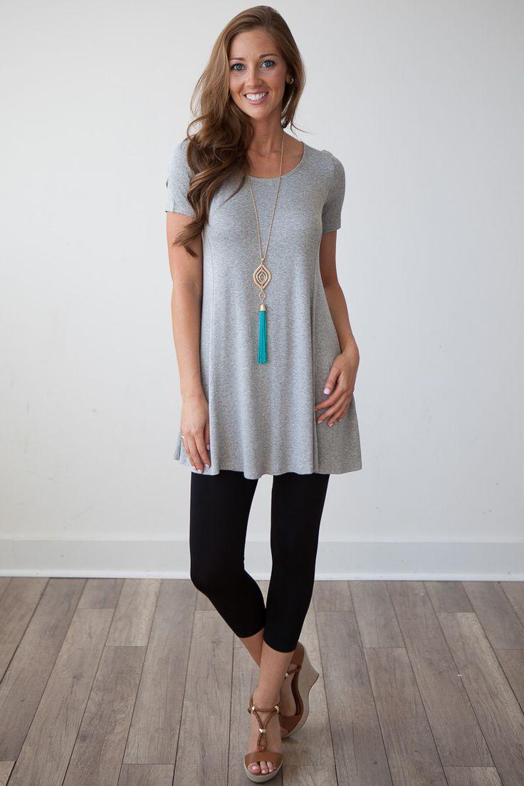 Magnolia Boutique Indianapolis - Short Sleeve Swing Tunic - Heather Grey, $27.00 (http://www.indiefashionboutique.com/short-sleeve-swing-tunic-heather-grey/)