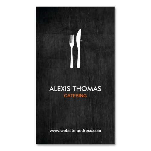 Fork & Knife Logo for Catering, Chef, Restaurant Double-Sided Standard Business Cards (Pack Of 100) http://www.zazzle.com/fork_knife_logo_for_catering_chef_restaurant_double_sided_standard_business_cards_pack_of_100-240371552548156137?rf=238756979555966366&tc=PtMPrsskmtChef A hand-drawn logo of a fork & knife makes a modern business card design for any catering business, personal chef, cook, restaurant, kitchen or cafe. The black wood gives this card a modern-rustic look. 1201AM is..