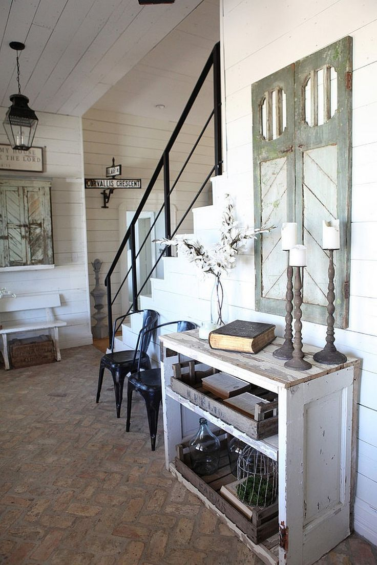 Beautiful Brick Floor From HGTV Fixer Upper Magnolia Homes Farmhouse Stair Railing
