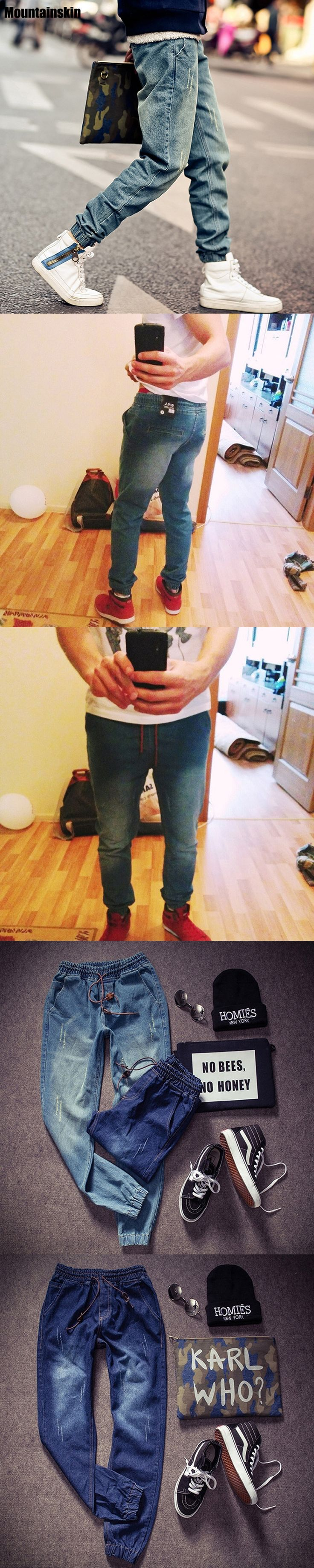 Mountainskin New Korean Style Men's Jeans Distrressed Jogger Jeans Slim Fit Denim Pants Skinny Stretch Elastic Jeans ,JA265