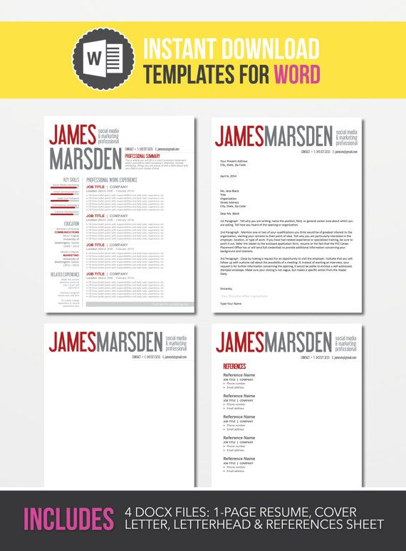 35 best cv images on Pinterest Resume design, Resume templates - microsoft word references template