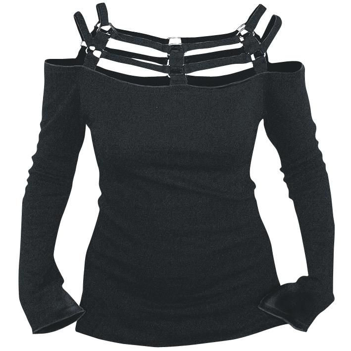 Casual Black top by Spiral with straps across the top and shoulders