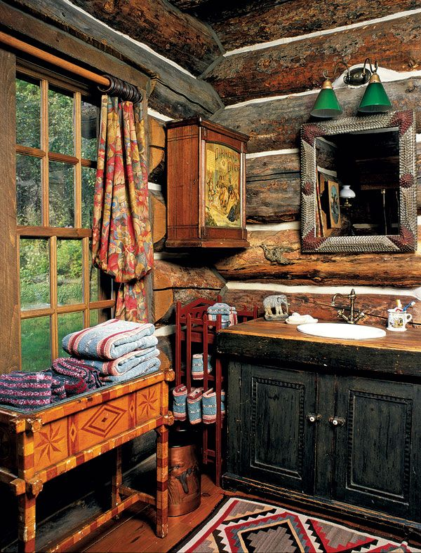 417 best bathrooms rustic images on pinterest bathroom for Log cabin kitchens and baths