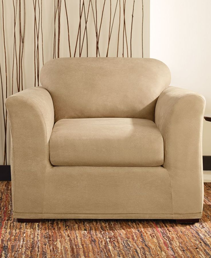 Stretch Faux Leather Separate Seat T Cushion Chair