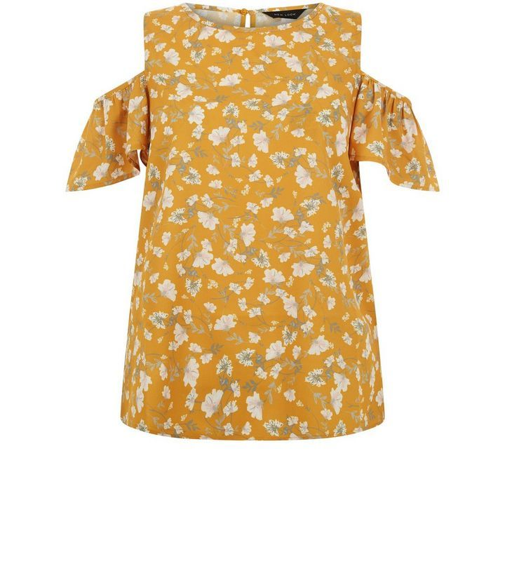 Schulterfreies Top in Gelb mit Blumenmuster | New Look