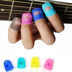 10Pcs Guitar Ukulele Thumb Bass Silicone Fingertip Finger Picks Protector Plectrum