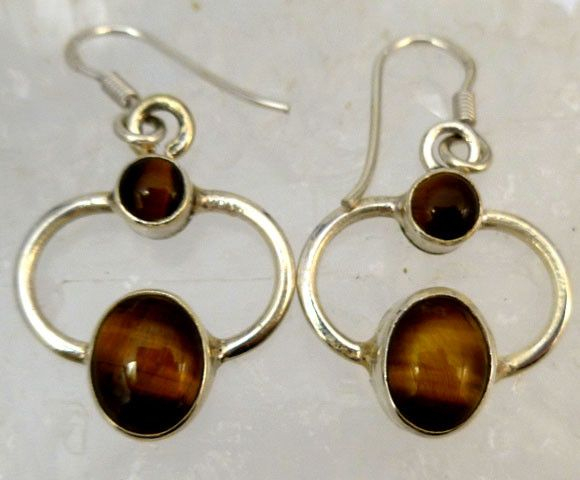 AUSSIE TIGER EYE  SILVER EARRINGS         RT 1181  NATURAL AUSTRALIAN TIGER EYE GEMSTONE EARRINGS GEMSTONE  , FROM GEMROCKAUCTIONS.COM