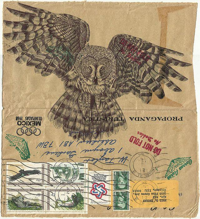 Mark Powell, de quem já falamos aqui, usa como base envelopes antigos. Essa série é dedicada aos pássaros. | via