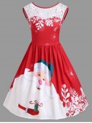 Christmas Santa Claus Print Lace Insert Party Dress