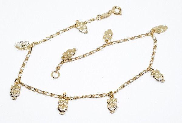 10005f10 18kt Brazilian Gold Filled Owl charms Anklet 95 Owl