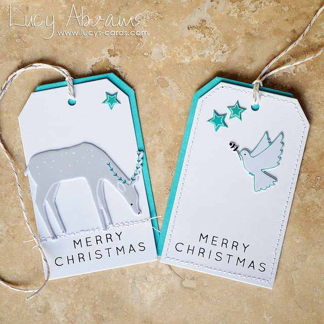 Elegant Christmas tags from Lucy Abrams using the December Simon Says Stamp Card Kit. Order the kit by clicking here: http://simonsaysstamp.com/product.aspx?id=336855