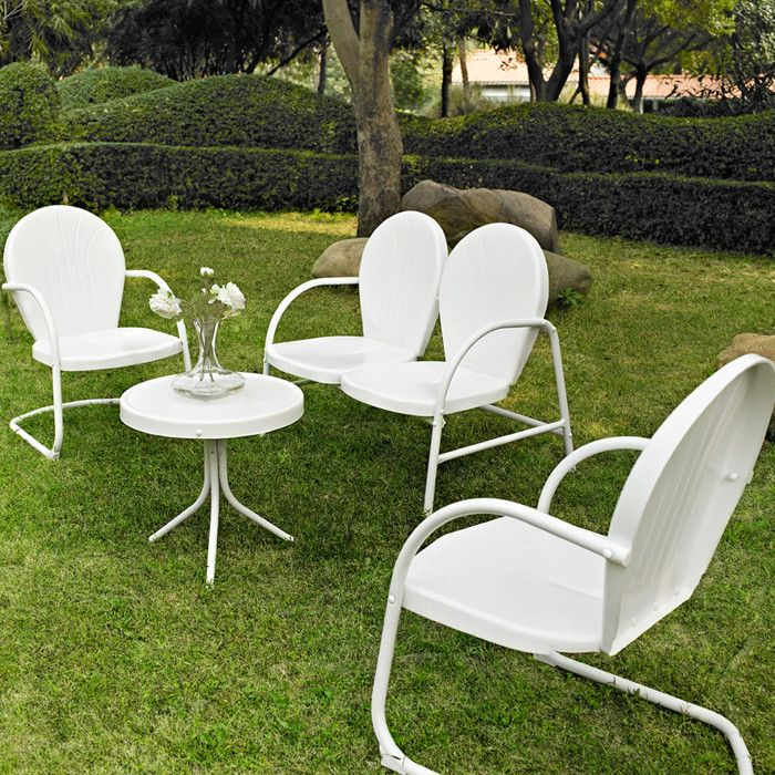 retro lawn furniture. I just LOVE these. And I have wanted some since the first day I saw them. They sell them at Atwoods. Other colors too. White is maybe not a good color for red dust Oklahoma.