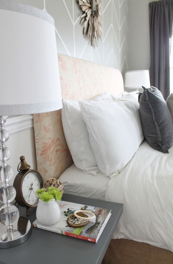 City Farmhouse Master Bedroom Reveal & Sources: SOURCES wall color-Valspar/Beach Side tables painted with BM Stormy Sky  reupholstered headboard-Calico Corners driftwood  mirror- tutorial HERE white linen duvet & shams- H & M Home gray studded velvet pillow-West Elm gray shag pillow-West Elm persimmon throw-West Elm tufted bench-Home Goods lamps-Target baskets-DIY Home Goods jute rope and hardware-Lowes linen drapes-RH outlet bed skirt-Ballards comforter insert- Target