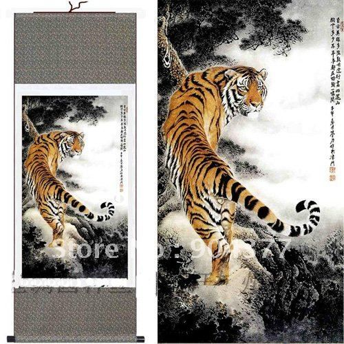 1piece Free shipping Classic Silk Hanging Scroll Art Chinese Tiger Paintings size L 40 x W 12 inch