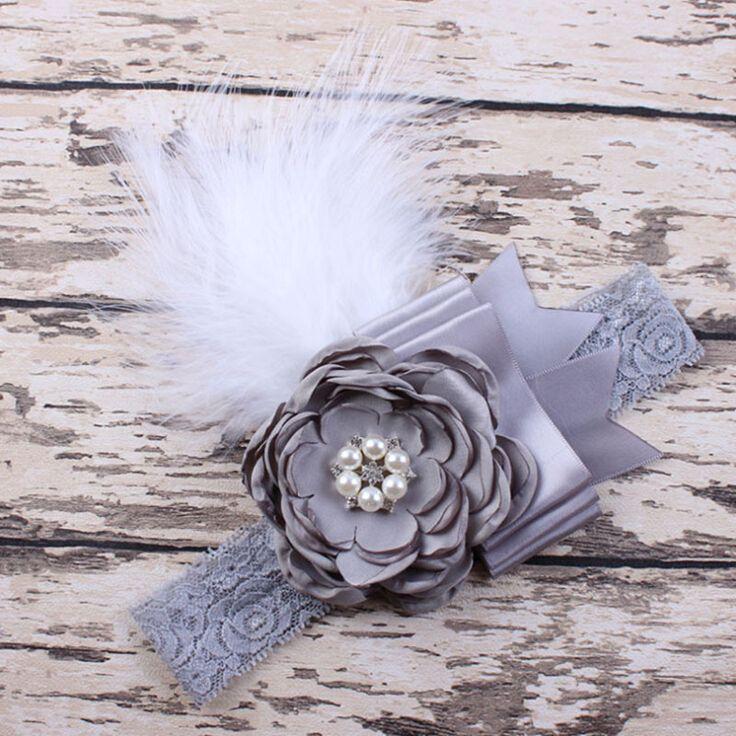 Newborn Sparking Rhinestone Feather Headband Baby Girl Headband Flower Hair Bow Toddler Kids Hair Accessories