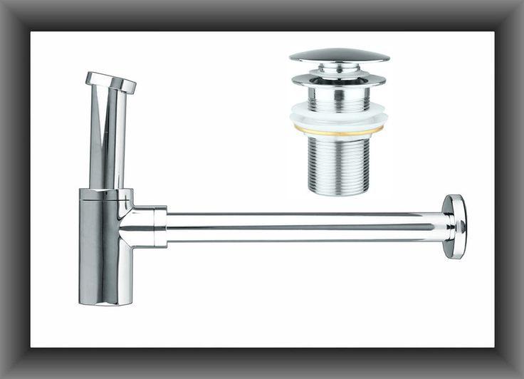 Design Siphon Ablaufventil mit Push-Up Ablauf Sifon Waschbecken Set Rund Pop-Up