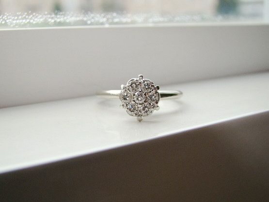 Antique Diamond Engagement Ring Vintage Flower Wedding Ring Mid Century White 14K Gold Size 5.25
